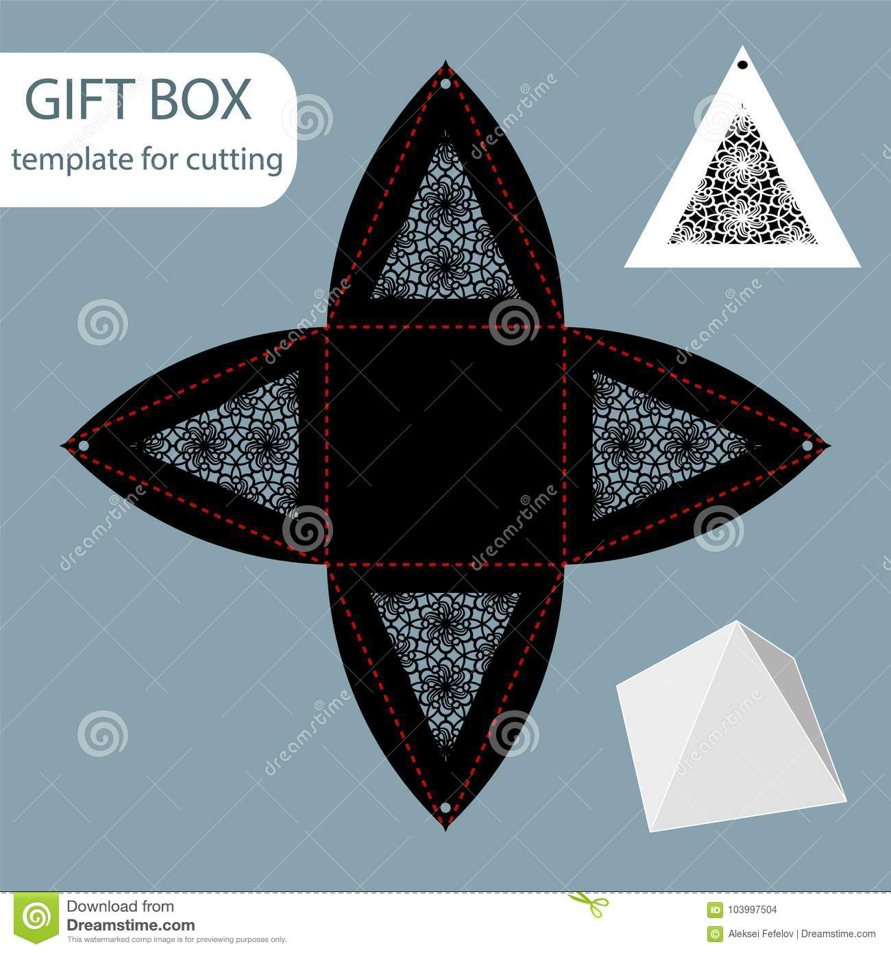 Paper Gift Box Lace Pattern Pyramid With A Square Bottom Cut Out Template Packaging For Retail Greeting Can Be Laser