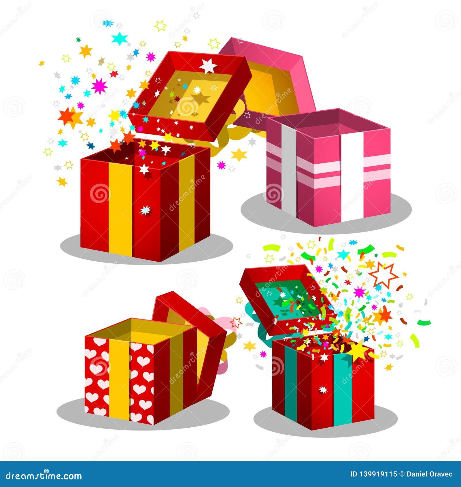 Paper Gift Boxes Set. Open Present Box Symbols