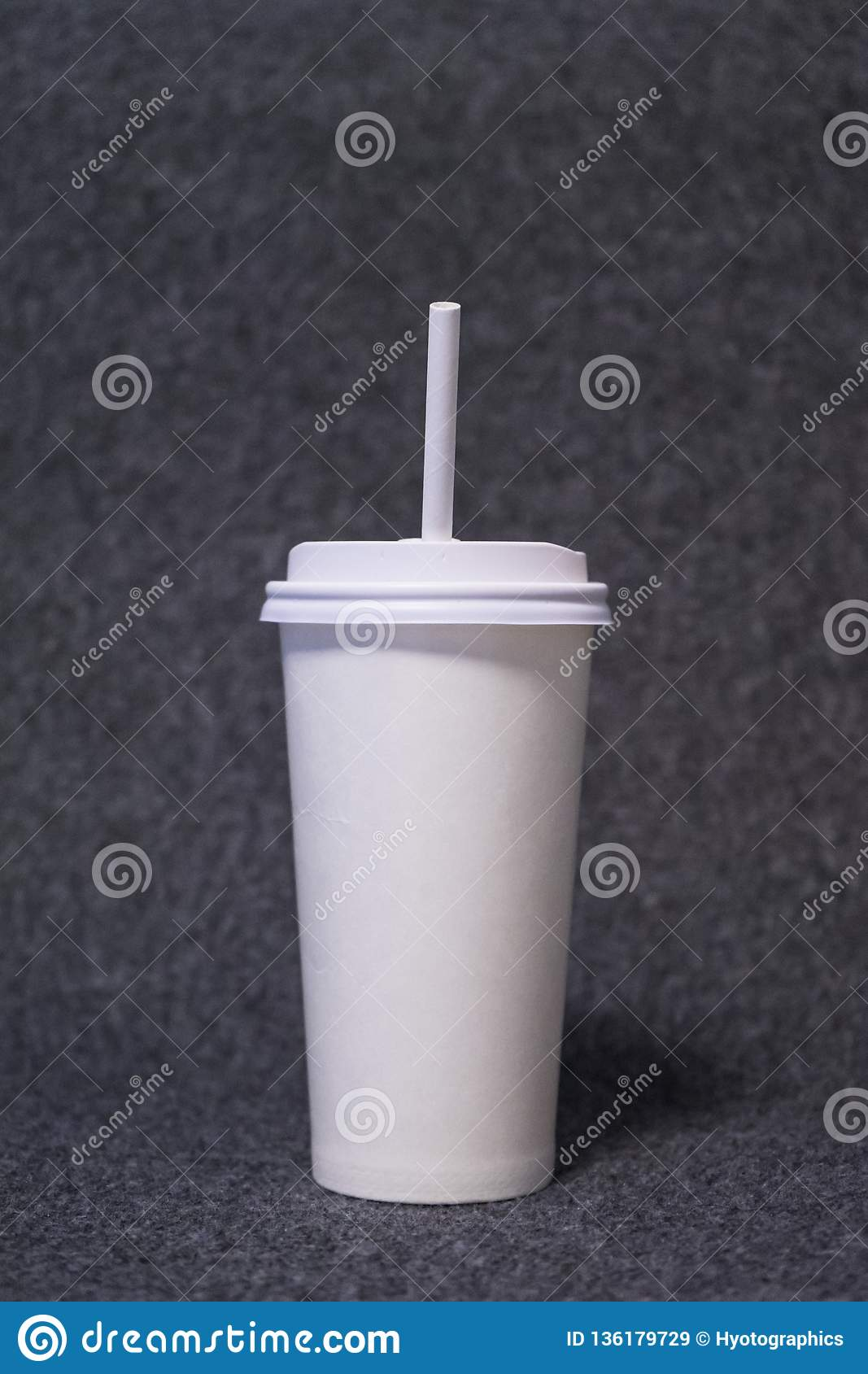 Paper glass with a paper straw
