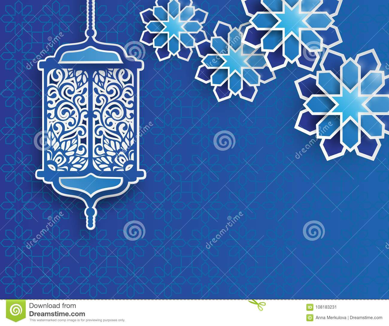 Paper graphic of islamic lantern and stars.