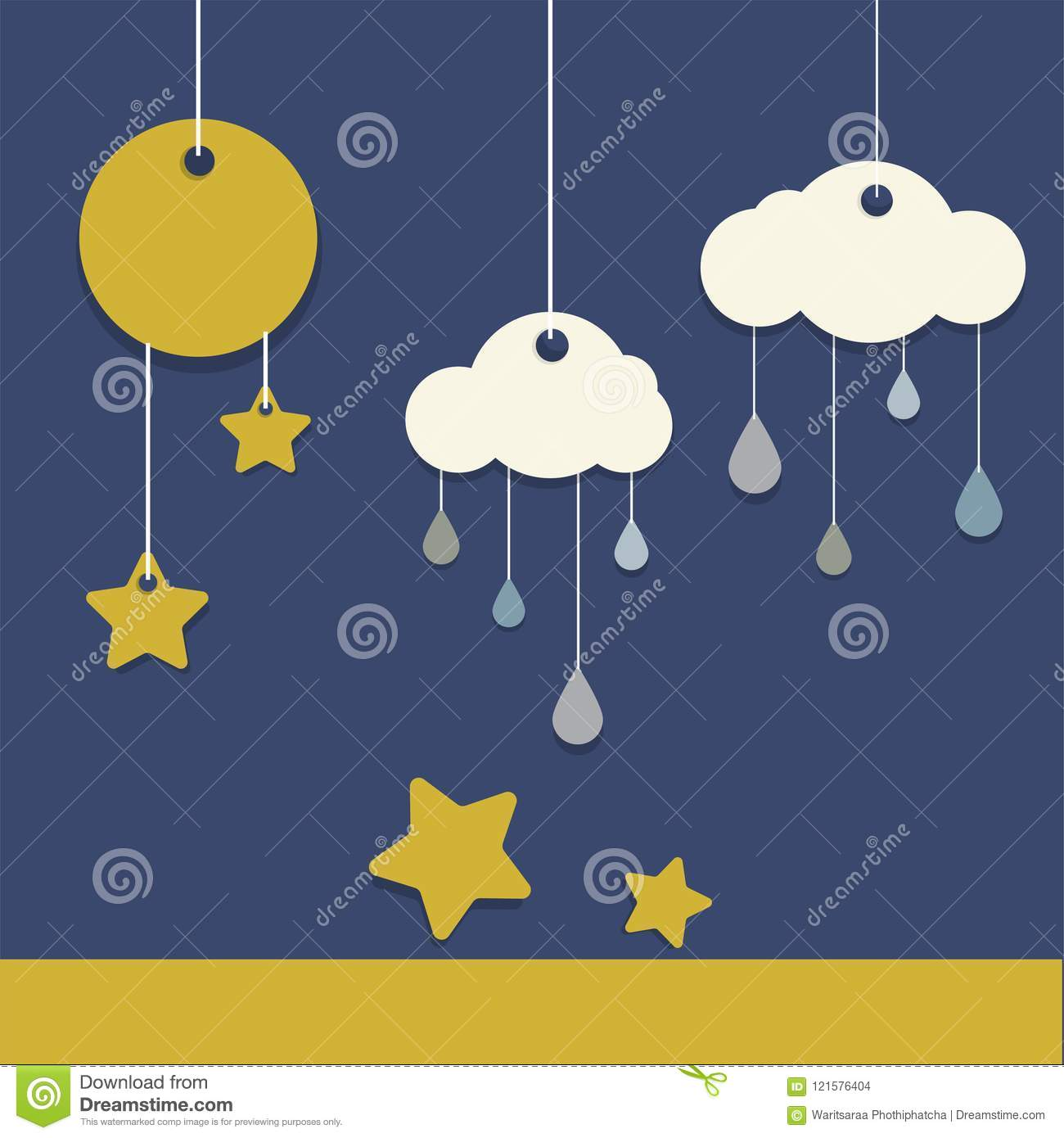 Paper Hanging Rain Cloud Moon Mobile Flat Vector Design Stock