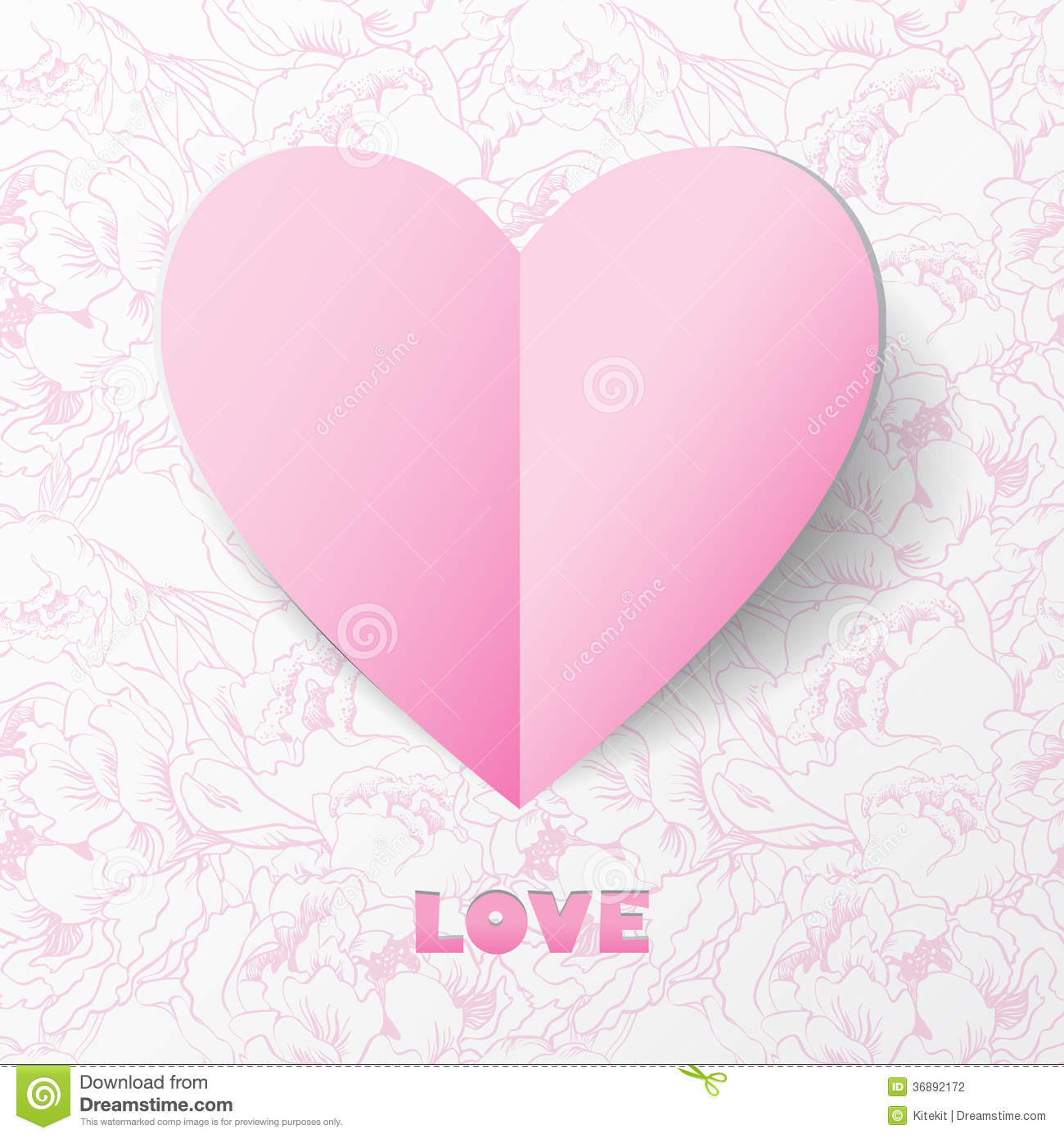 Paper Heart Love Card On Flower Background. Template For Design Stock ...