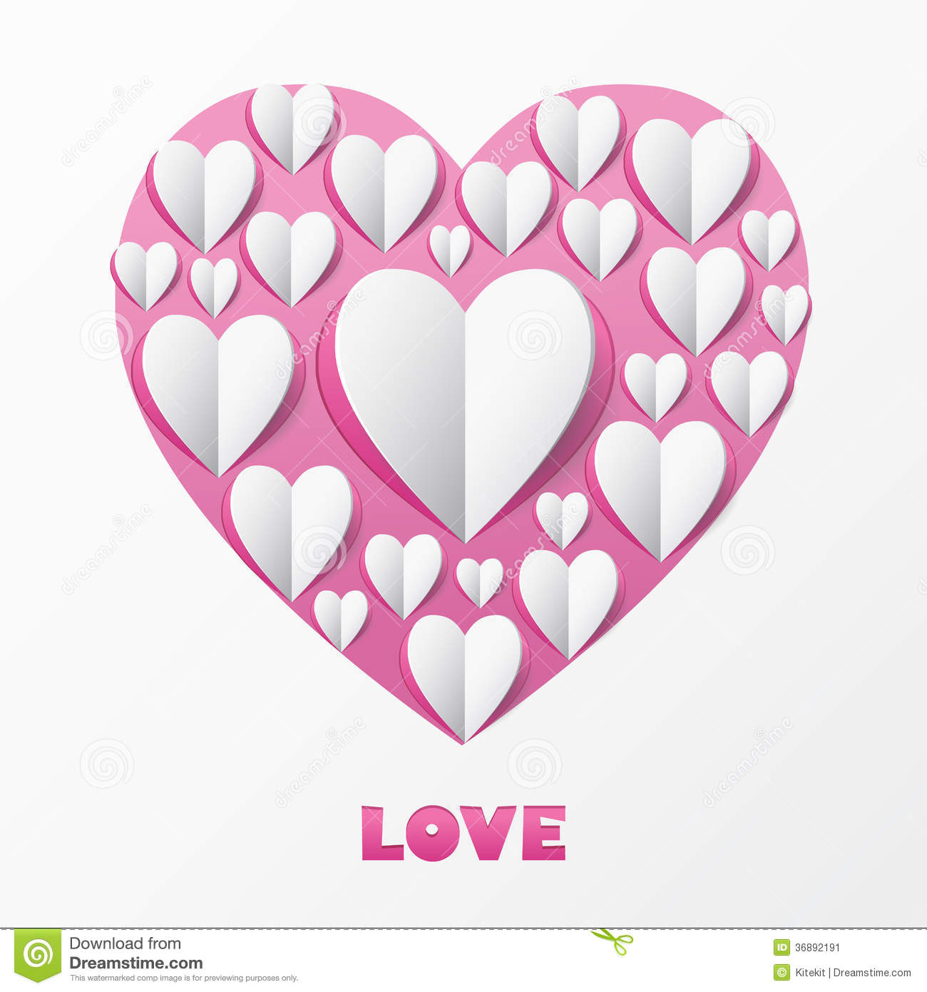Paper heart love card template for design greeting card for Love in design