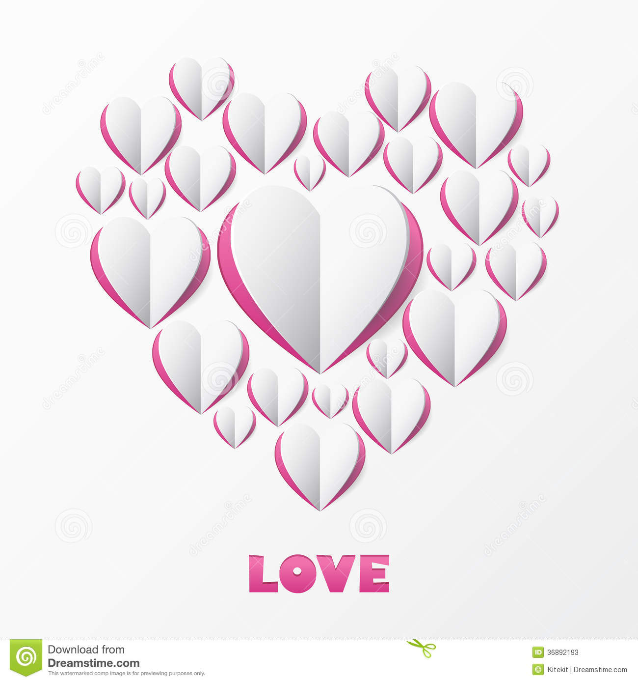 Paper Heart Love Card Template For Design Greeting Card Weddin