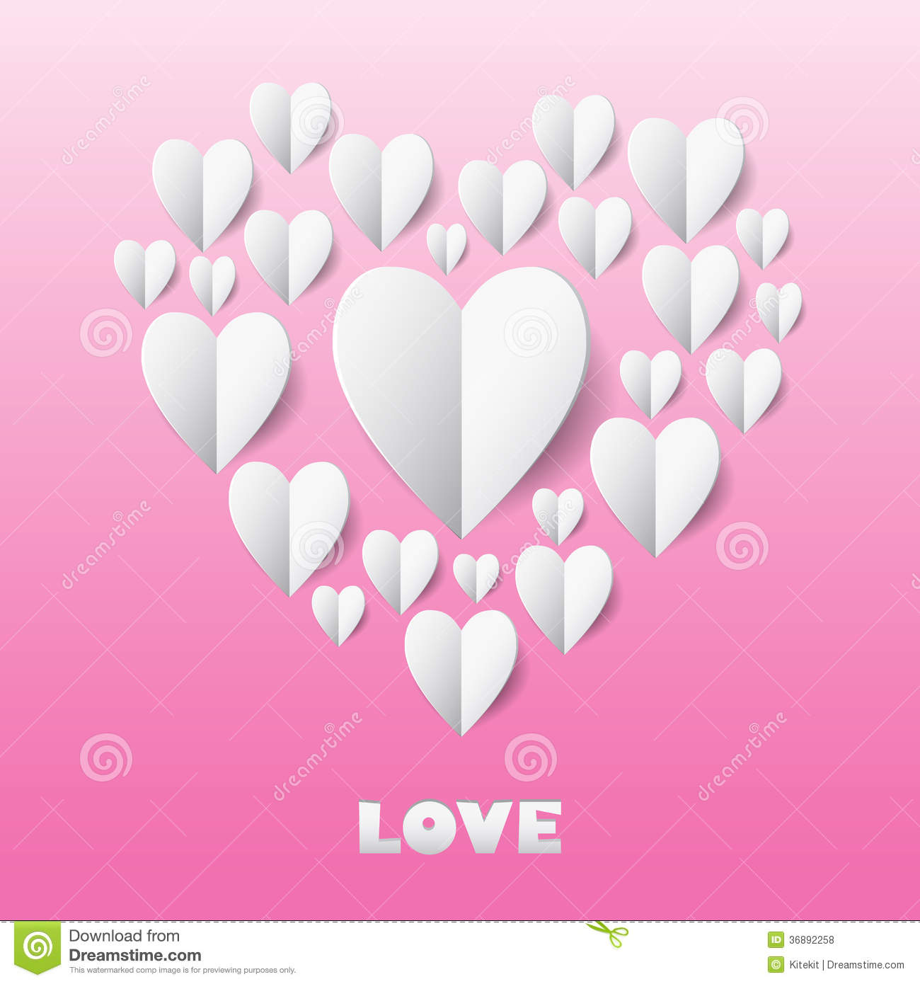 Paper heart love card template for design greeting card for Love the design