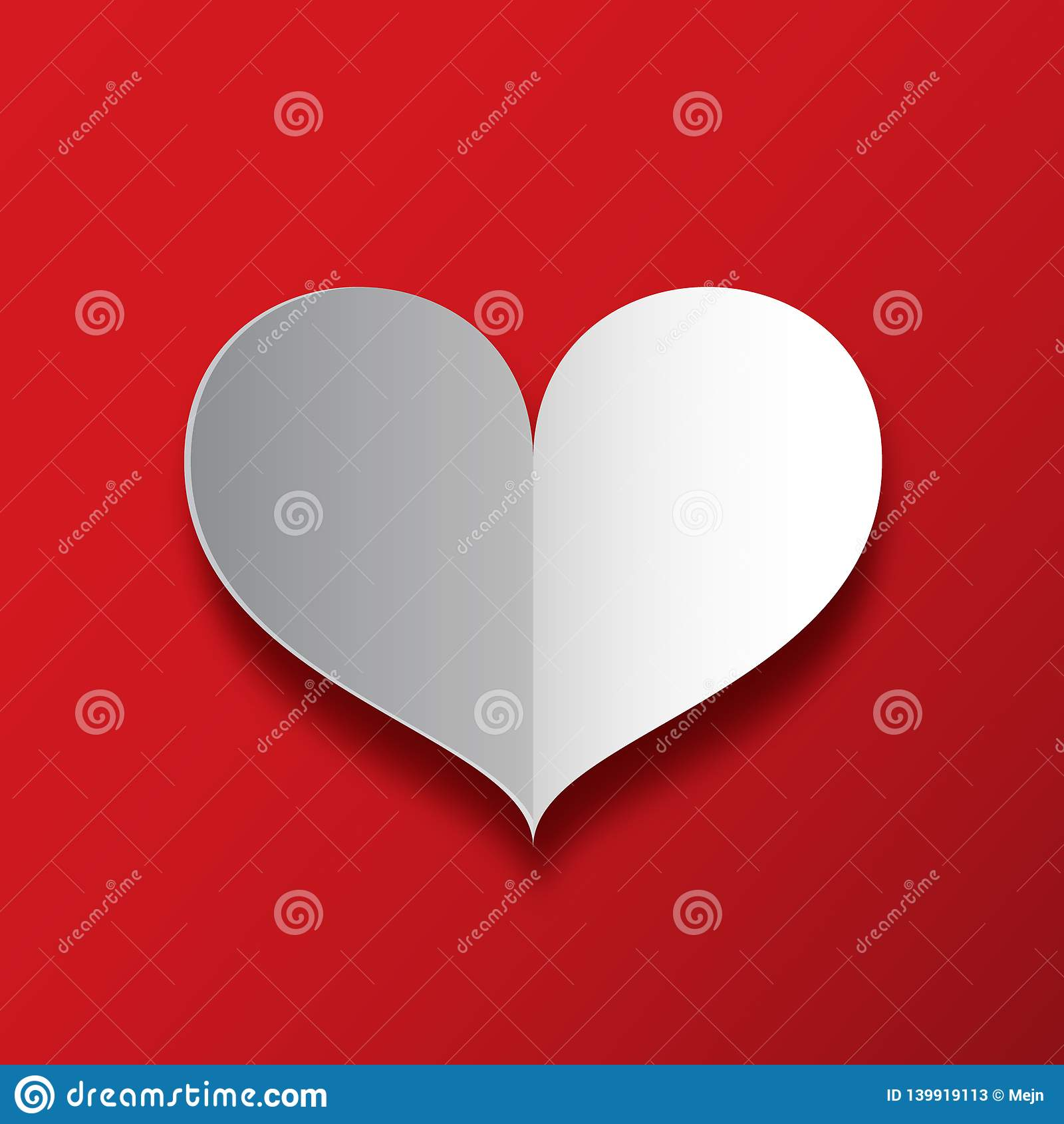Paper Heart on Red Background.