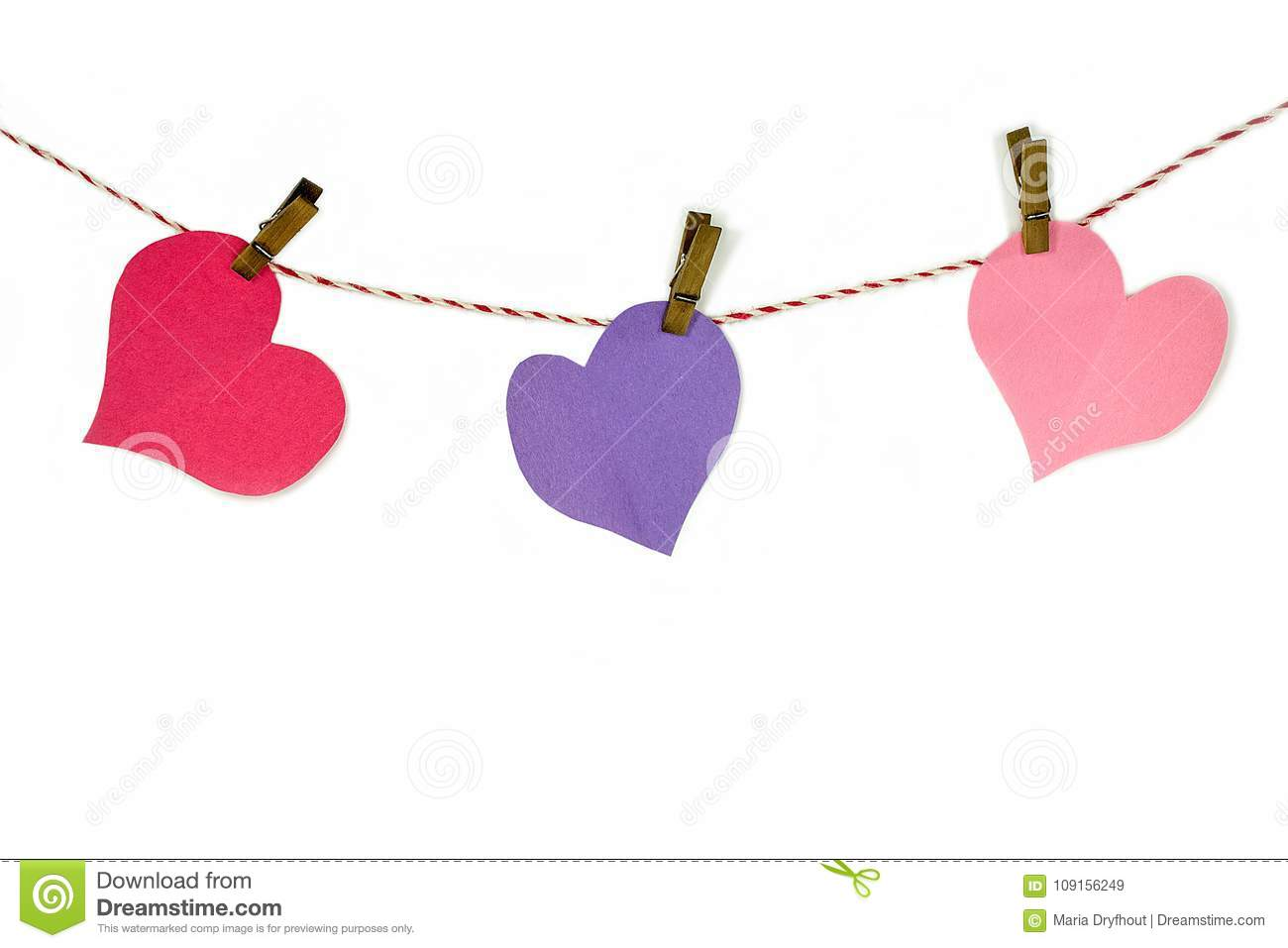 Clip Art Line Of Hearts : Paper hearts and clothespins on string stock image of