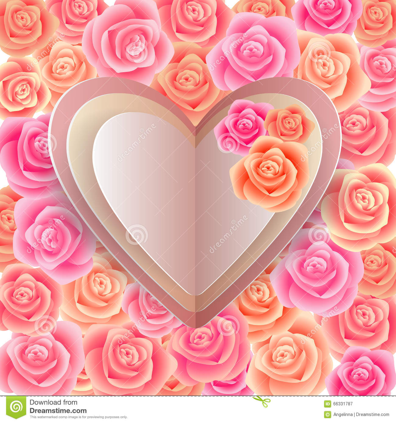 Paper Hearts With Rose Background Stock Vector Illustration Of