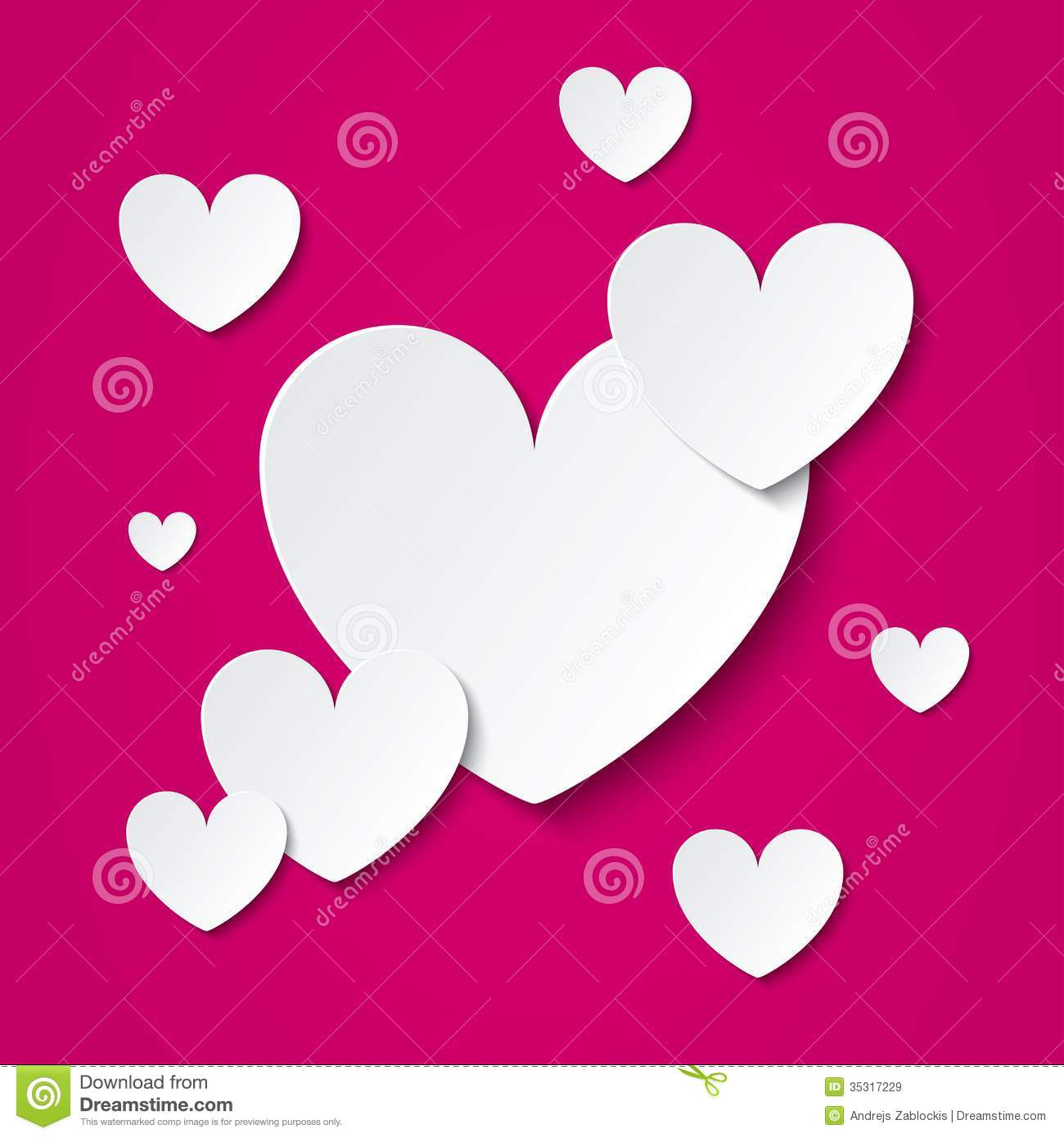 Valentines Day. Hearts Cut From Paper Cartoon Vector