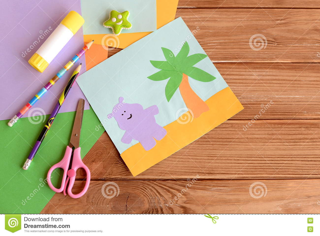 Paper Hippo And Palm Tree Applique, Colored Paper Sheets ...