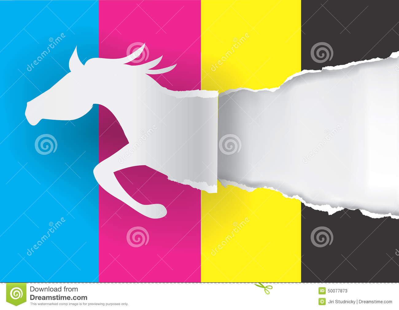 Paper Horse Ripping Paper With Print Colors Stock Vector