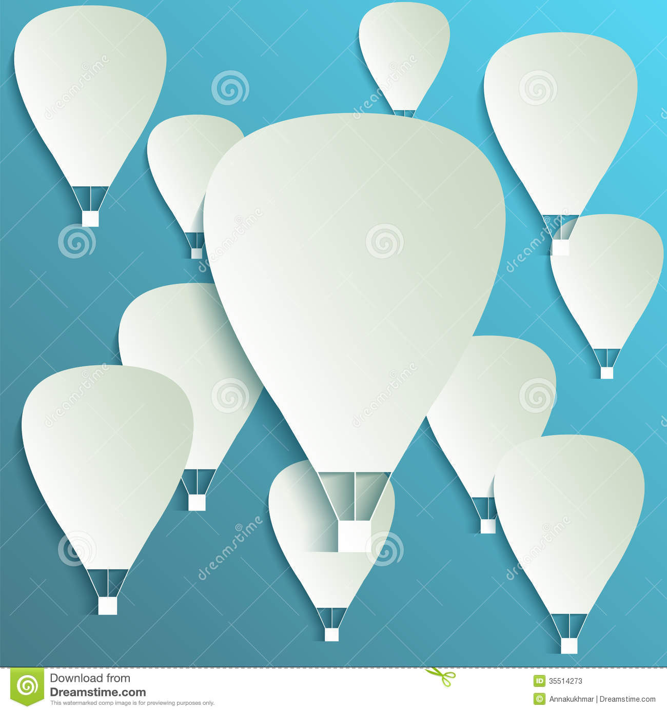 Paper Hot Air Balloon Banner With Drop Shadows Stock Photos - Image ...