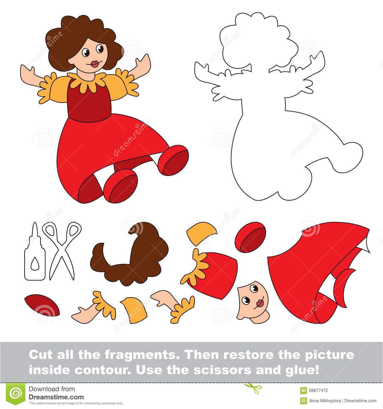 Paper kid game. Easy application for kids with Doll