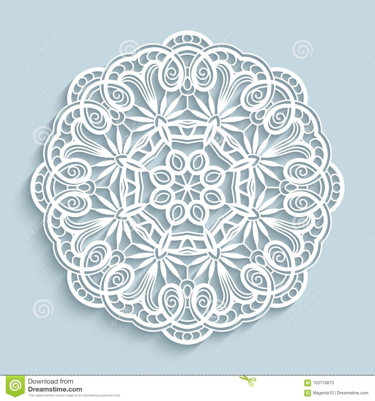 Paper Lace Doily Cutout Round Pattern Stock Vector Illustration