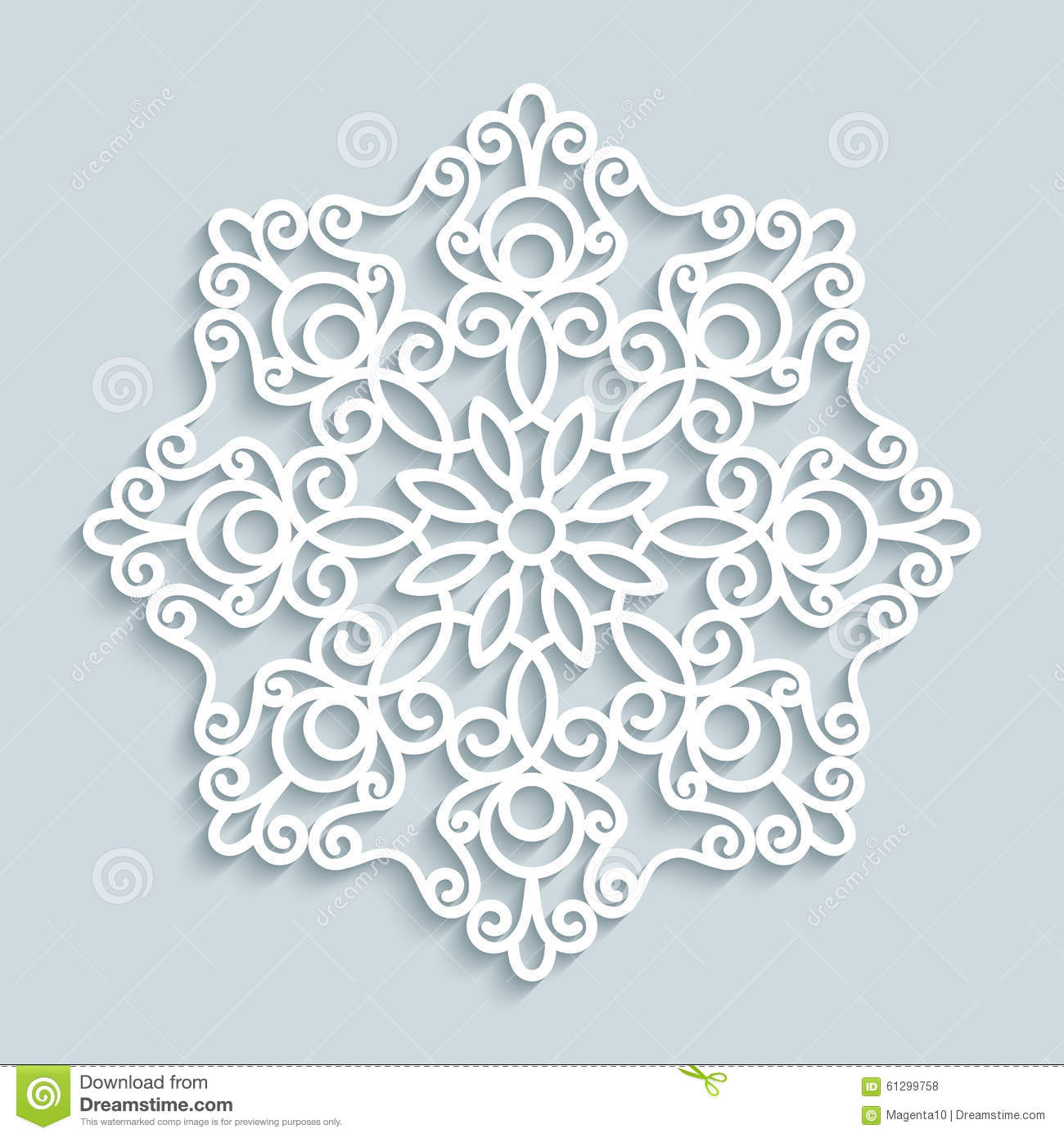 Paper Lace Doily, Round Crochet Ornament Stock Vector