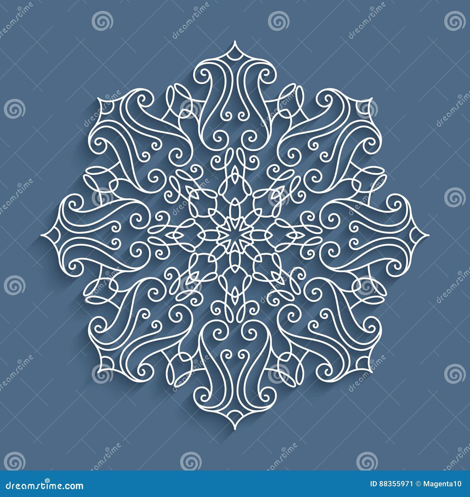 Paper Lace Doily Round Crochet Pattern Stock Vector Illustration