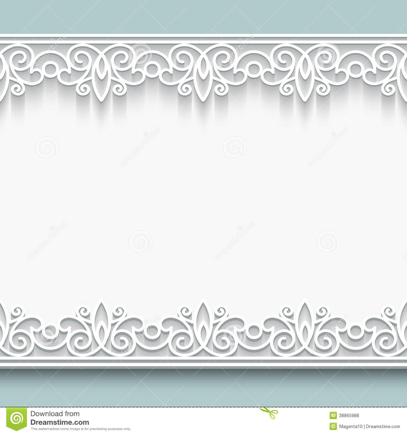 Paper lace background, ornamental frame with seamless borders.