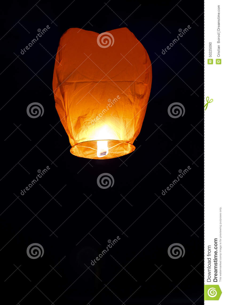 paper lantern isolated on black background stock photo