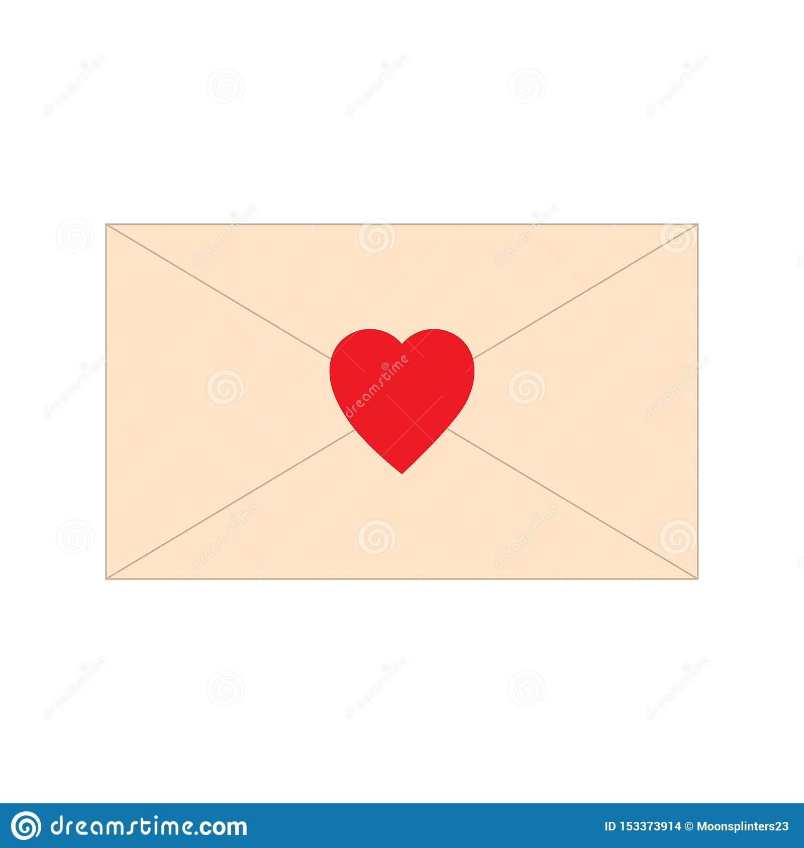 Paper letter, envelope, with red heart shape icon. Love mail message vector illustration. Romance symbol sign