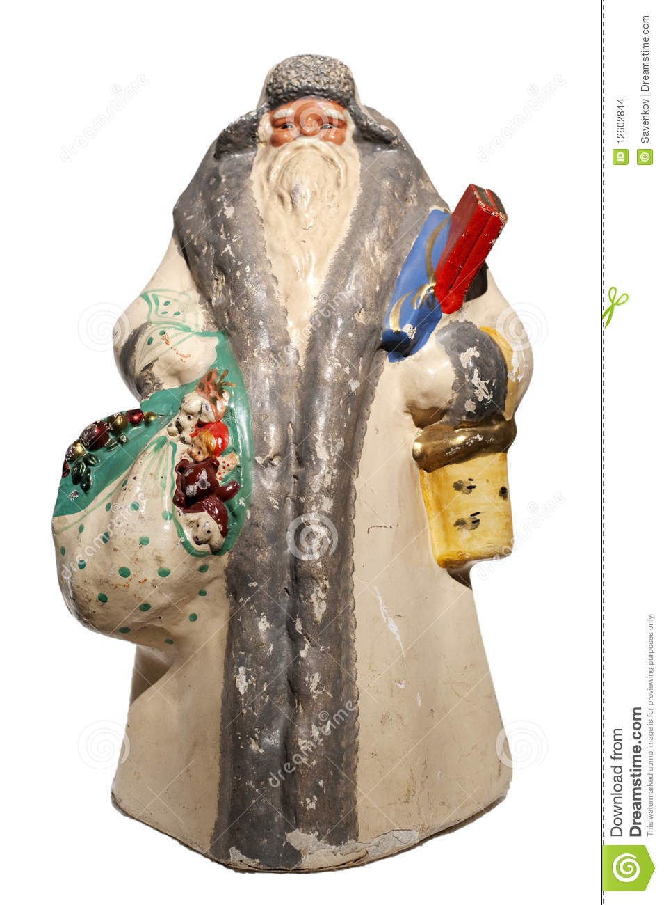 Paper mache santa claus toy with sack and basket stock