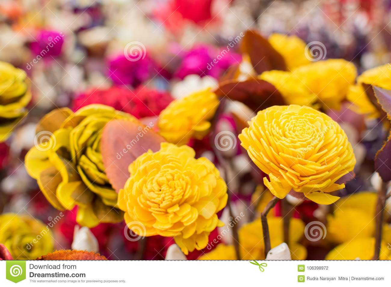 Paper Made Artificial Colored Flowers Stock Photo Image Of Fair