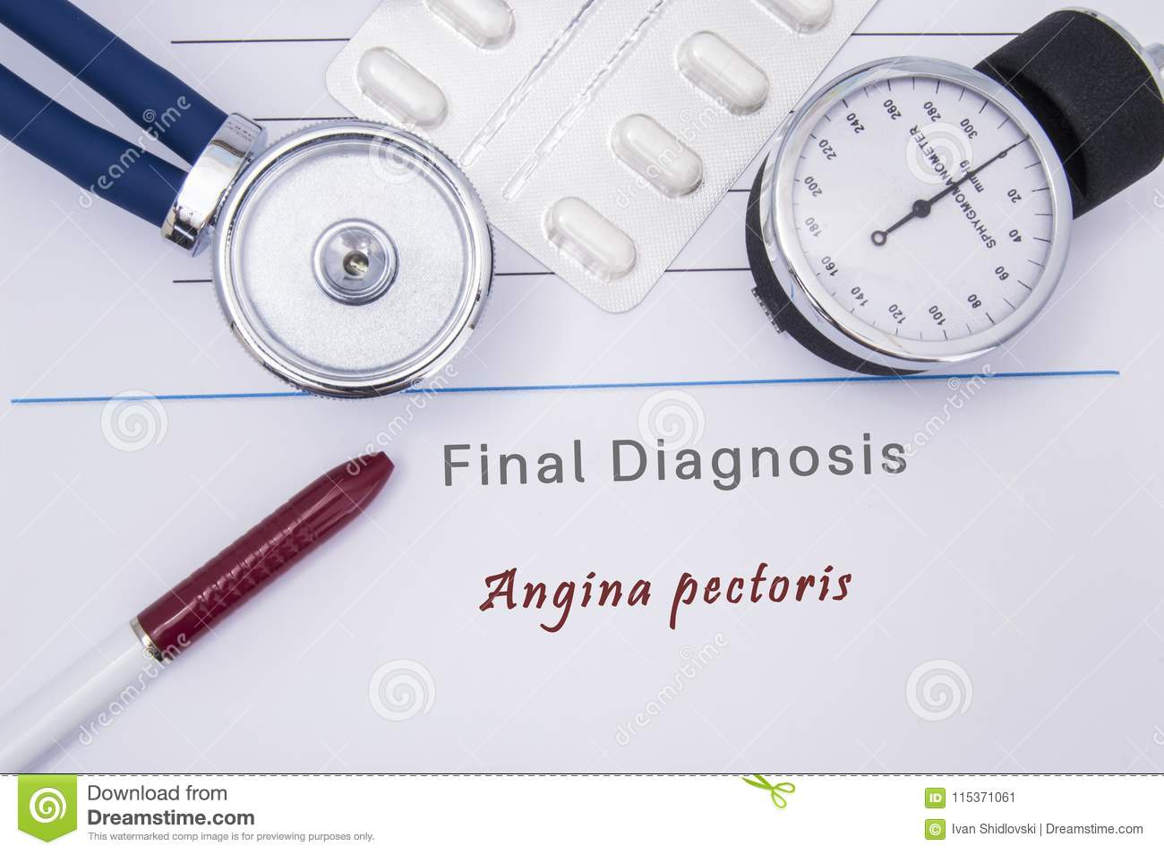 Paper medical form with the diagnosis of Angina pectoris on which lie the stethoscope, blood pressure monitor, white tablets or pi