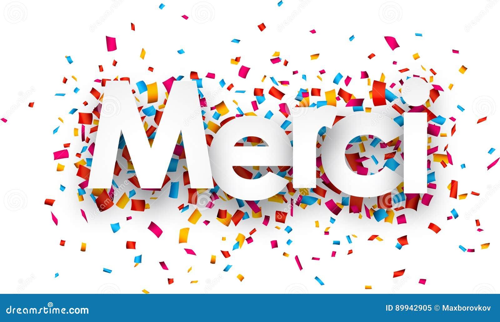 Paper merci confetti sign. stock vector. Illustration of ...