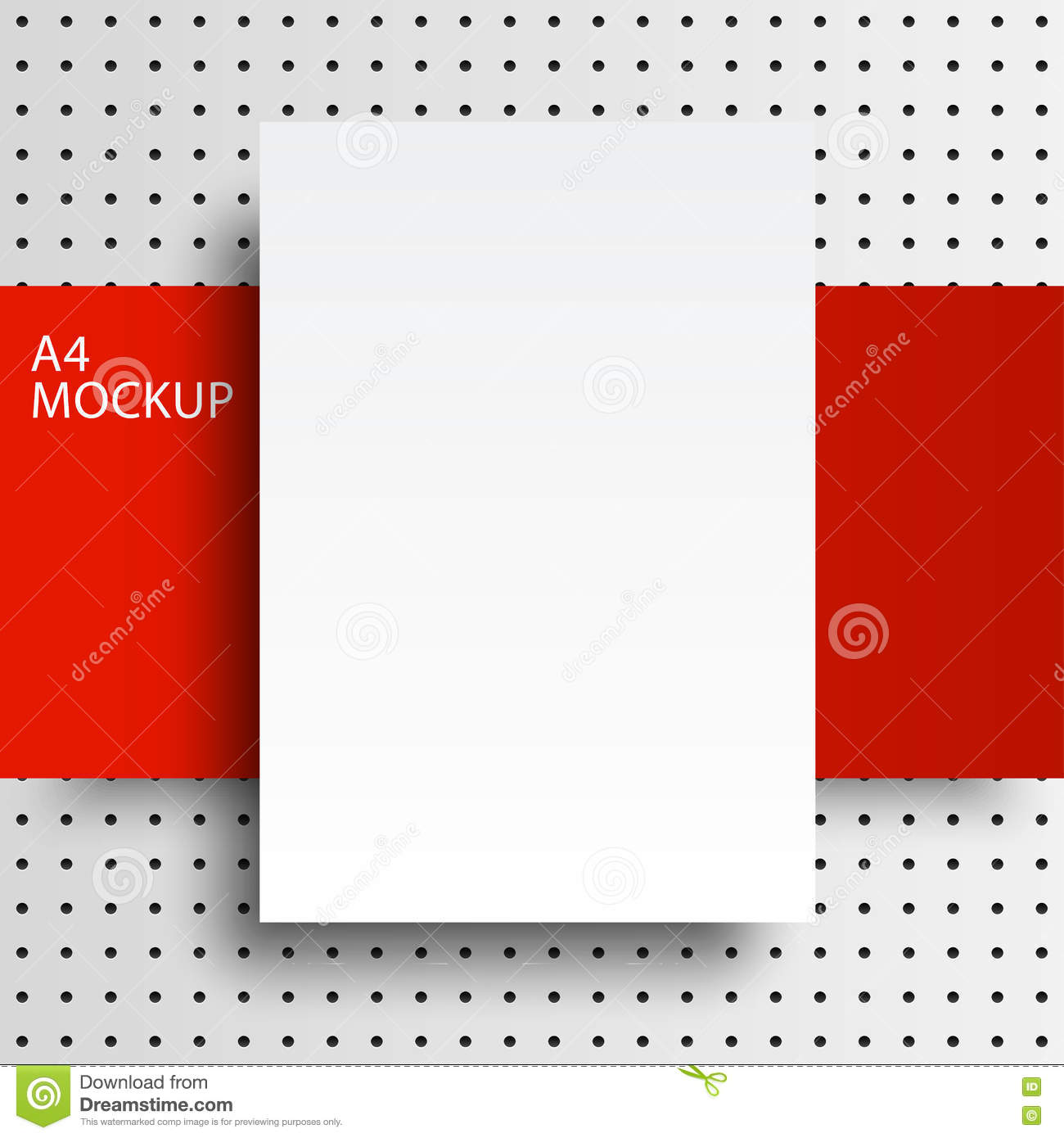Paper Mockup A4 Dot Red Line2-01 Stock Vector - Illustration of