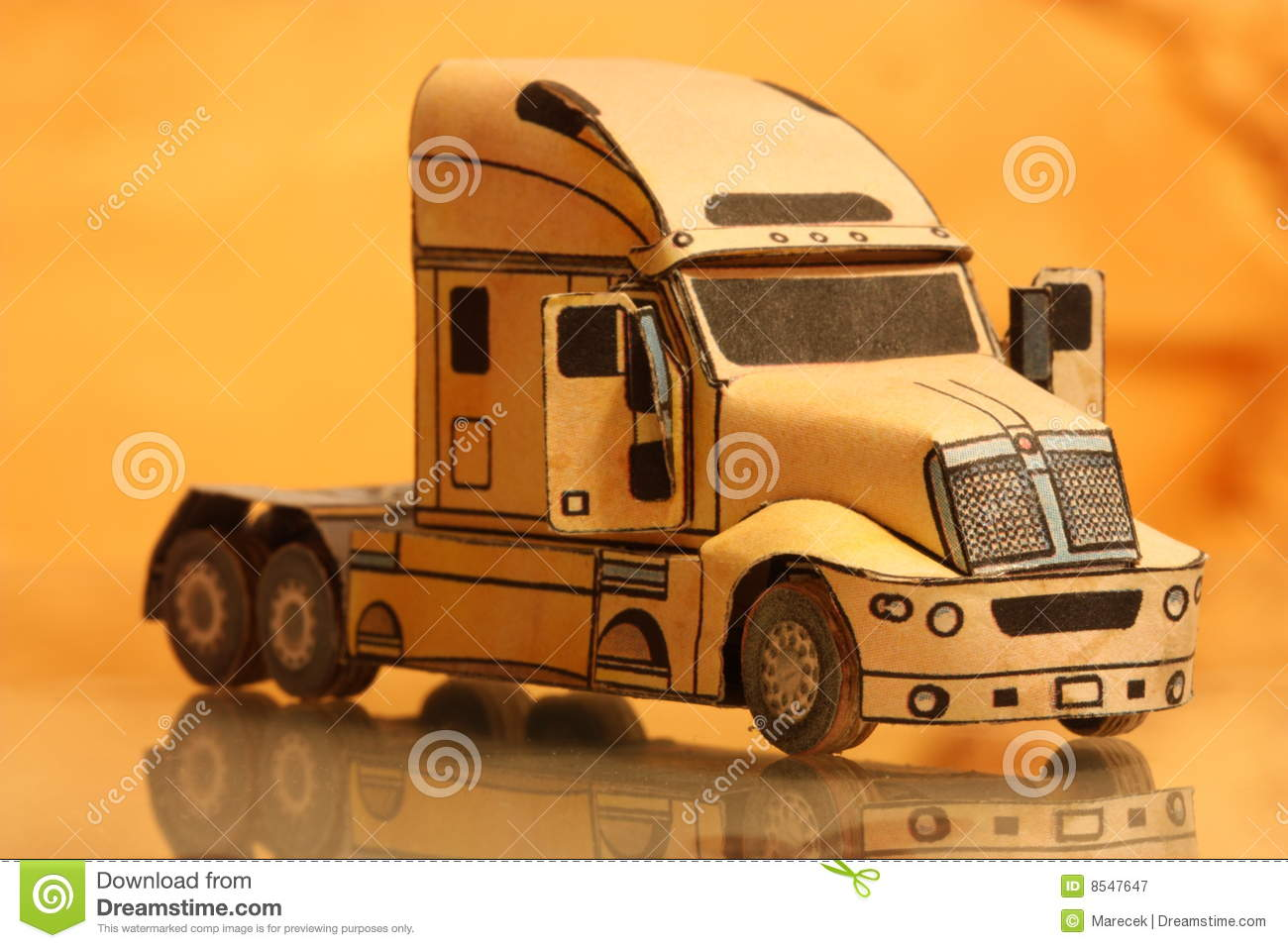 Paper model stock image  Image of paper, truck, yellow - 8547647
