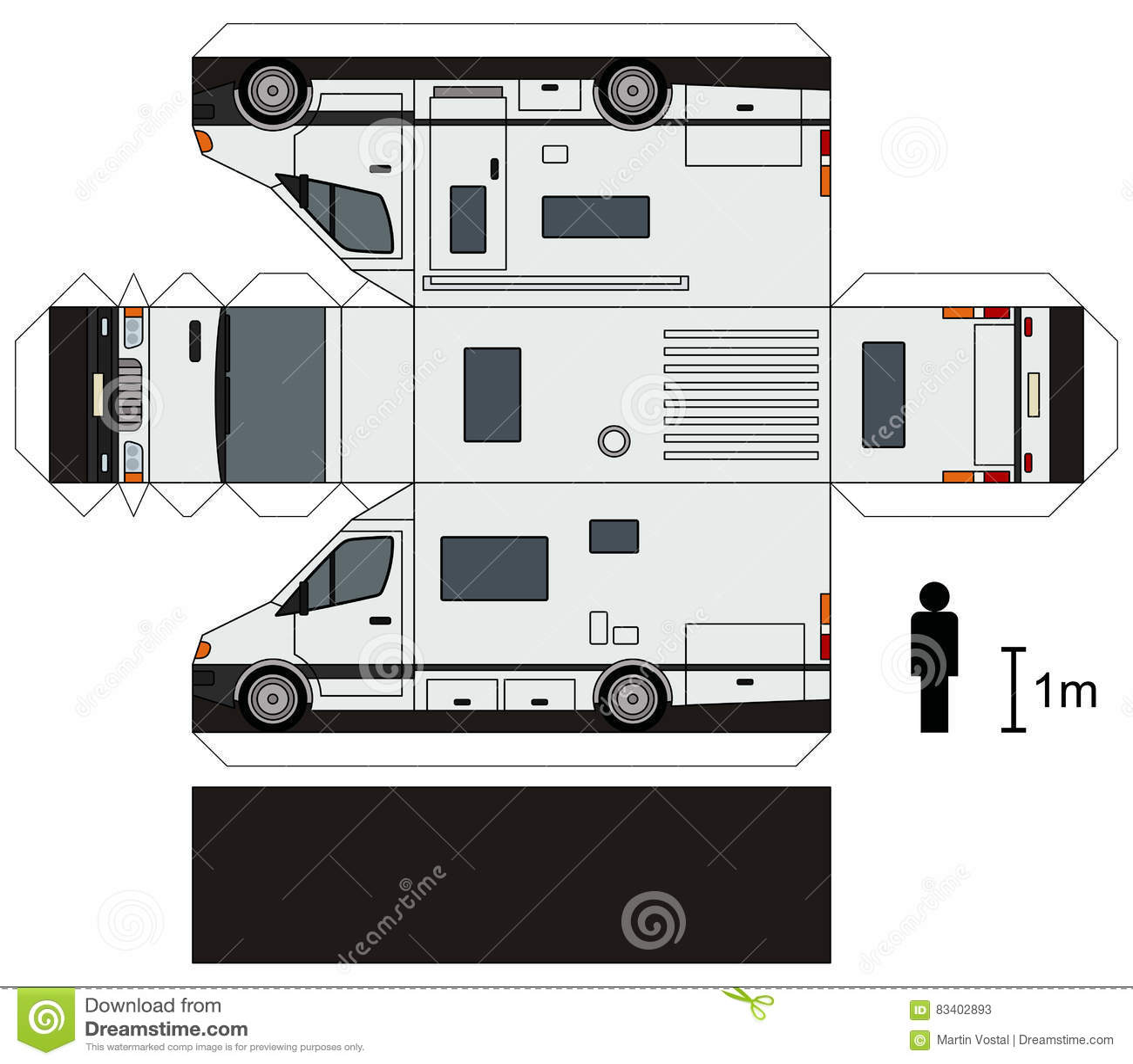 Paper Model Of A Caravan Stock Vector Illustration Of