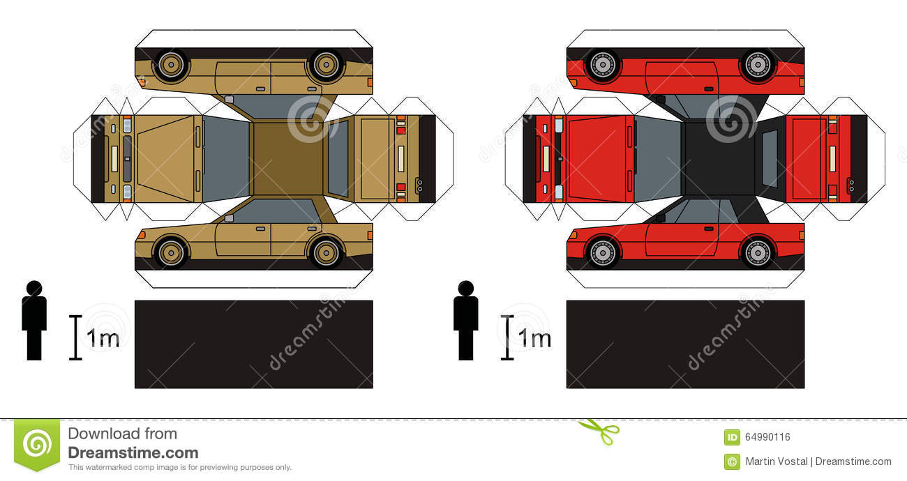 Paper Model Of Cars Stock Vector Illustration Of Jogger