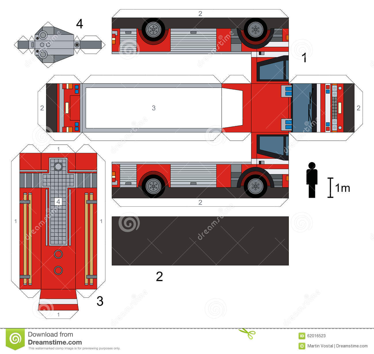 Paper Model Of A Fire Truck Stock Vector Illustration Of