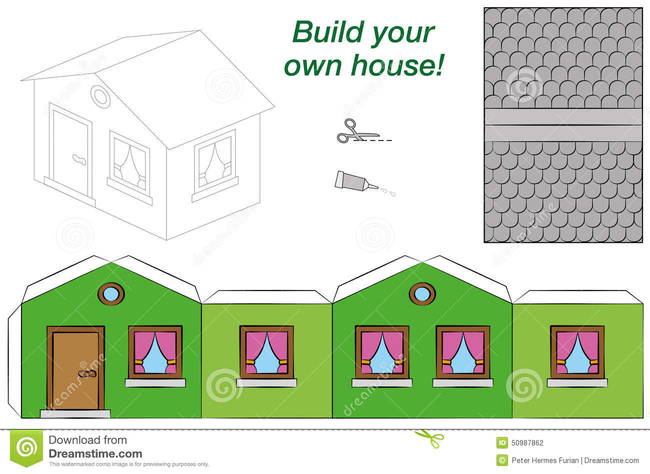 Paper Model House Template Green Stock Vector