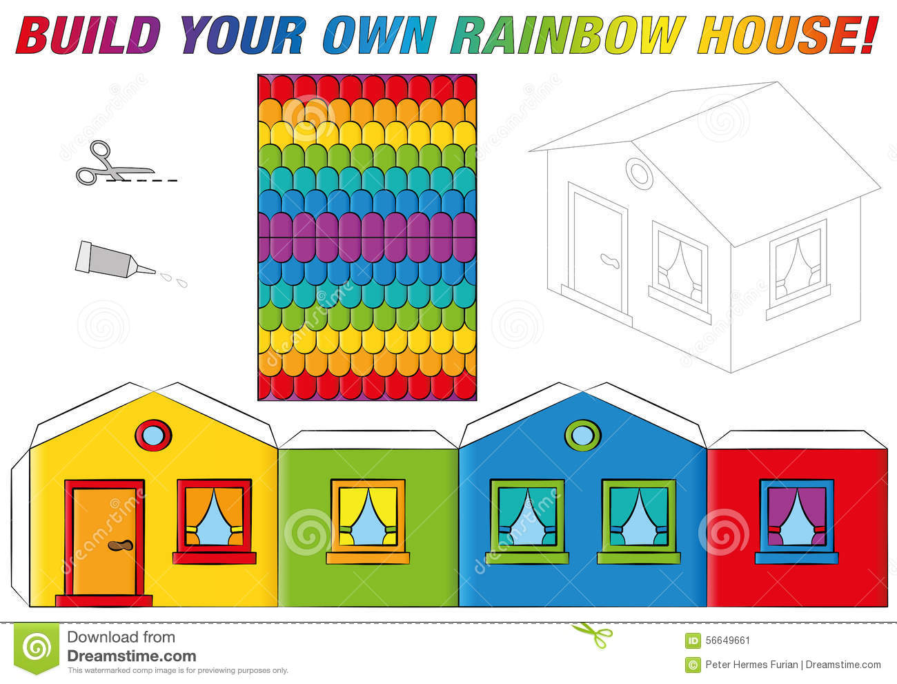 Paper model house template rainbow colors stock vector for Build a house online free