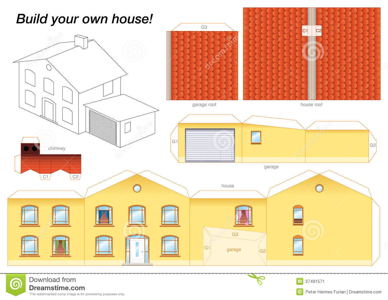 Paper model house yellow stock vector illustration of for How to make a blueprint of a house