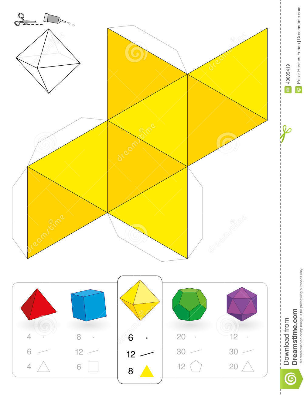 Paper Model Octahedron Stock Vector Image 43605419