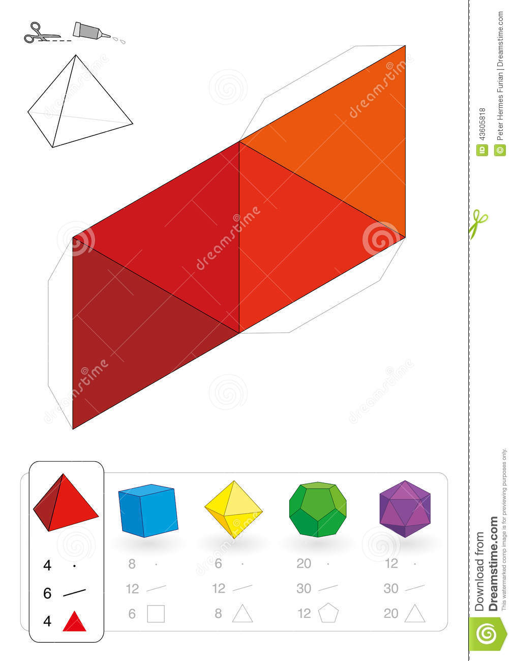 Paper model of an tetrahedron  one of five platonic solids  to make a    Platonic Solid Net