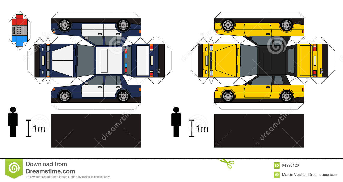 Paper models of a police car and yellow coupe, any real types, vector ...