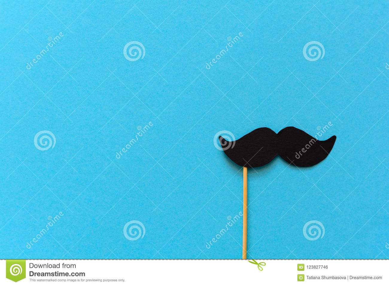 Paper Mustache On Booth Props Blue Background Cut Out Style Movember Concept