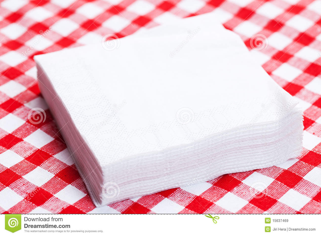 Paper Napkins On Picnic Tablecloth Royalty Free Stock