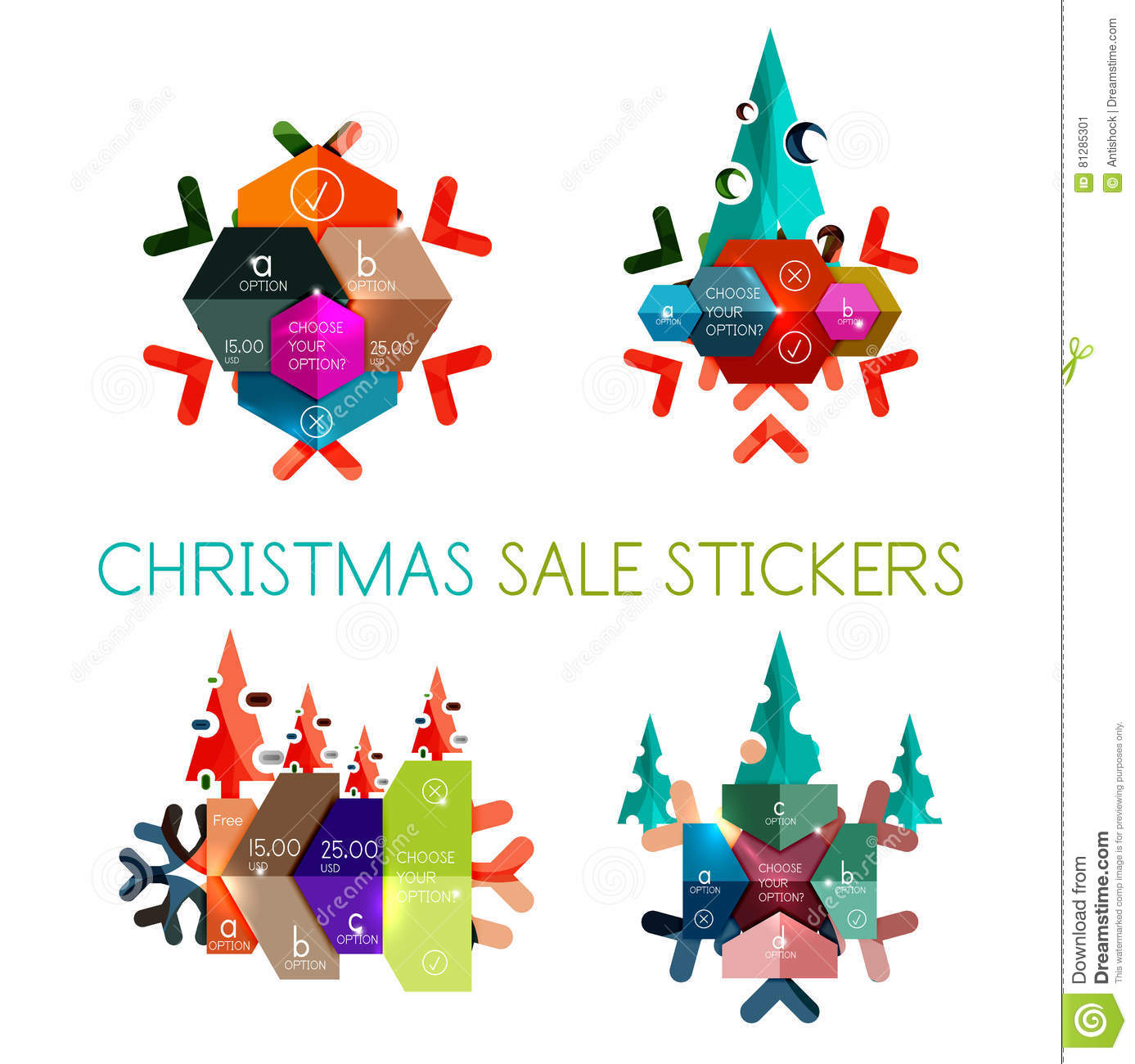 paper new year and christmas labels stickers stock vector