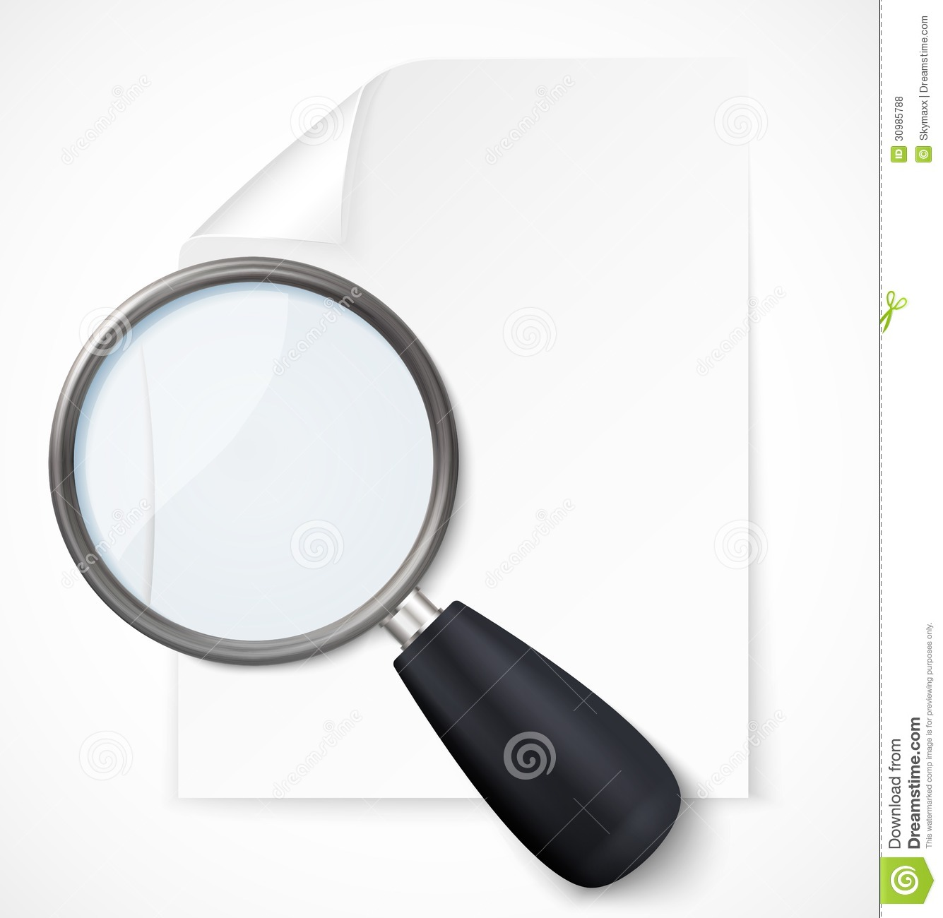 Paper Note Magnifying Glass Icon Vector Illustration