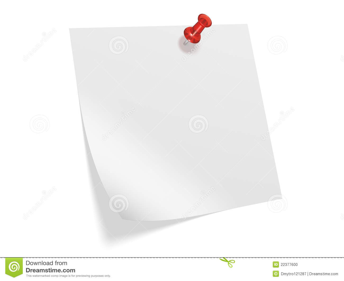 Paper Note Pinned With Thumbtack Stock Photo - Image: 22377600
