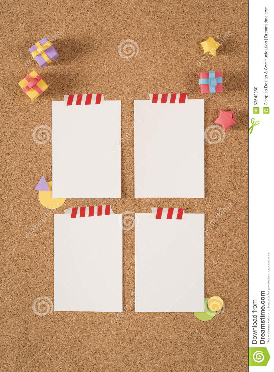 Paper Note Template Empty Cork Board Office School  Note Paper Template