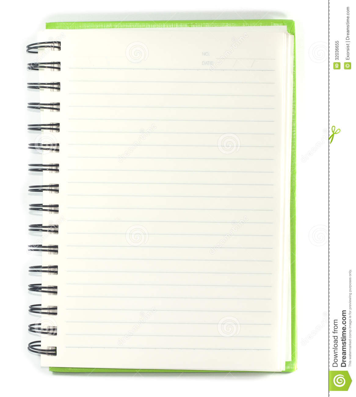 Paper Notebook Right Page With Pencil On White Background  Notebook Paper Background For Word