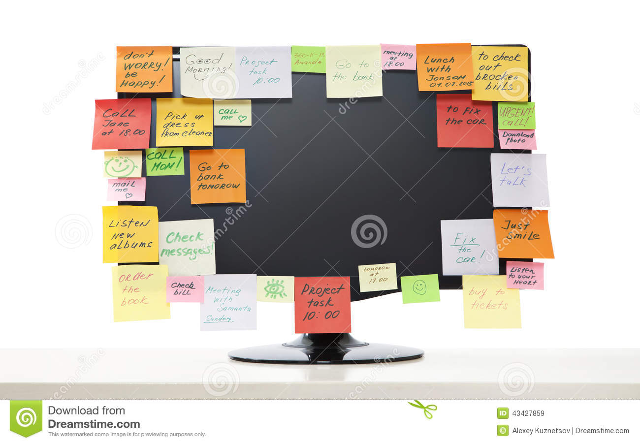 computer with sticky notes vector illustration 78114634. Black Bedroom Furniture Sets. Home Design Ideas