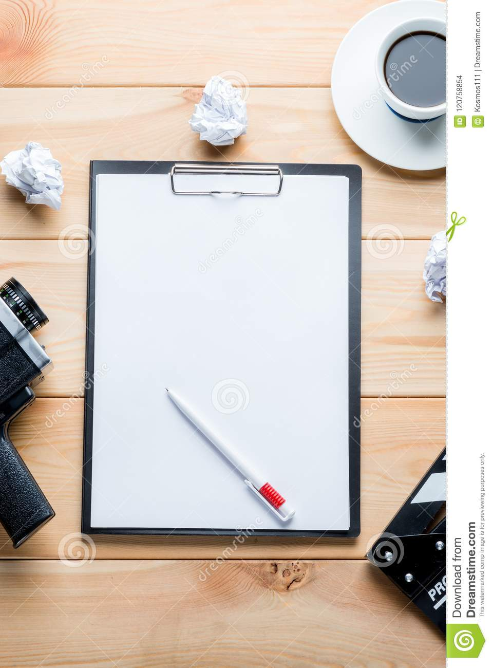 Paper and objects for the film industry on a wooden background t