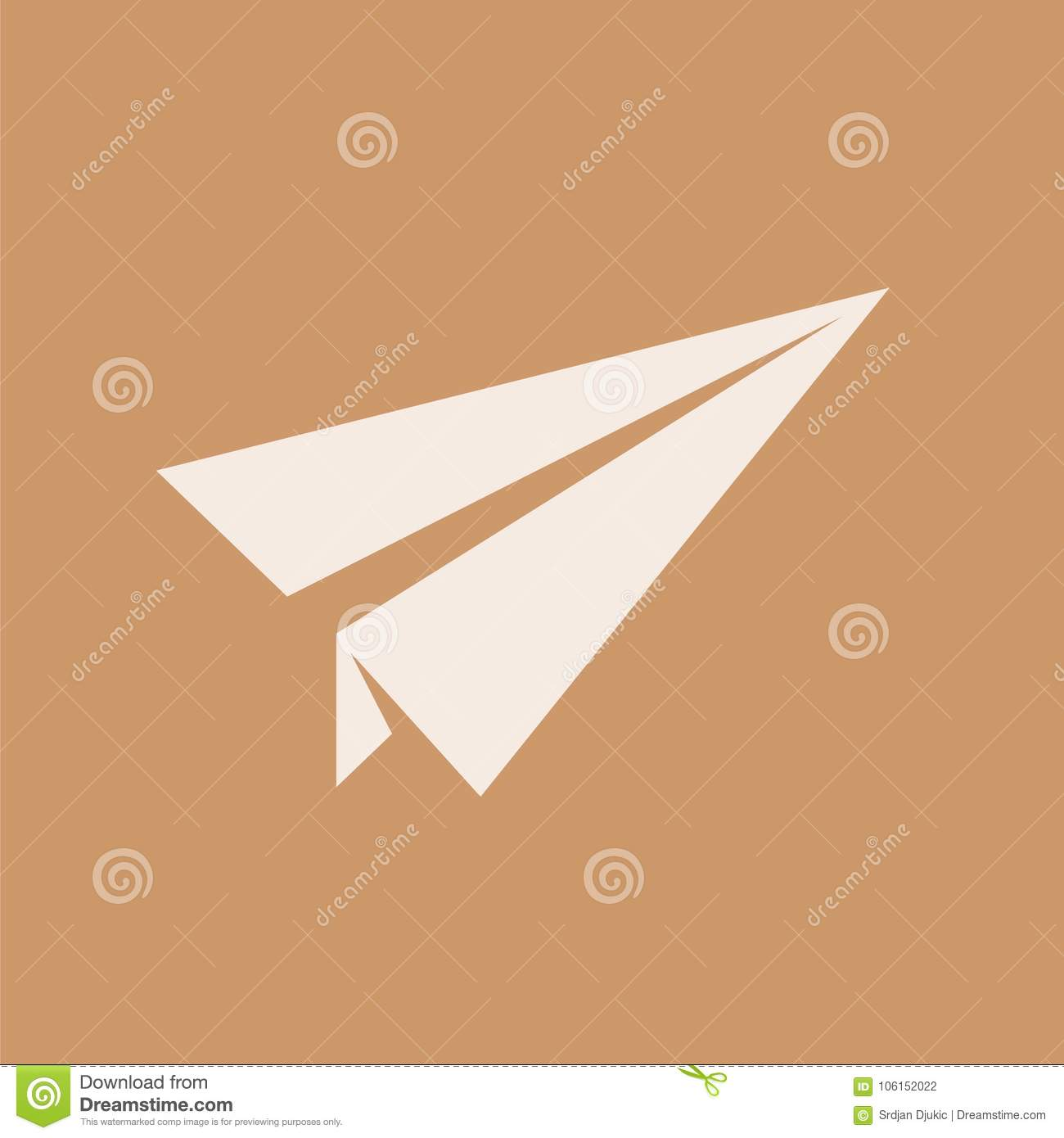 Paper Origami Airplane Flying Plane Stock Illustration