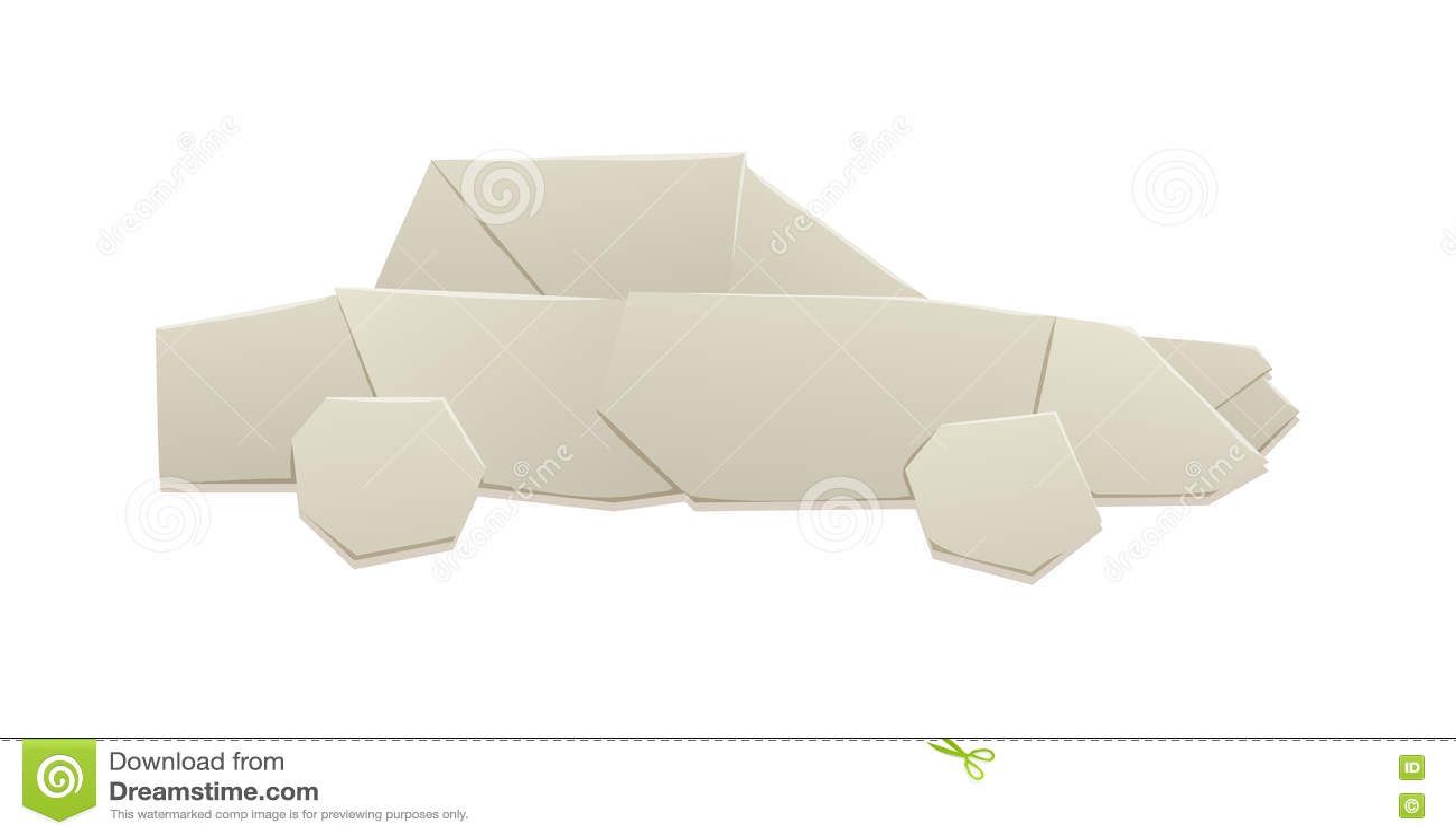 Paper Origami Car Vector Illustration Stock Vector Illustration
