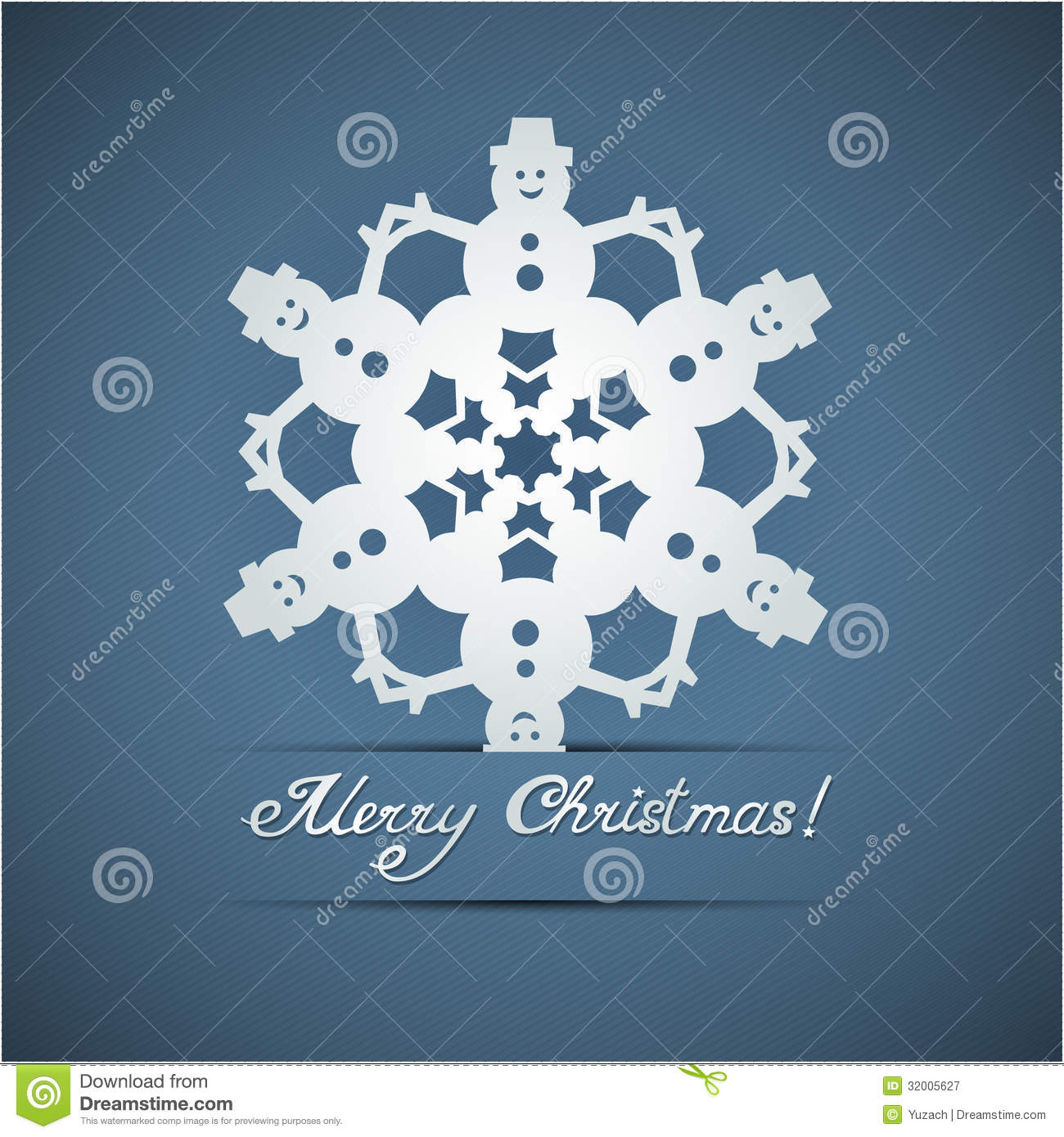 Paper Origami Christmas Snowflake Card Royalty Free Stock